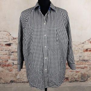 Ralph Lauren 1X Black Gingham Button Down Shirt